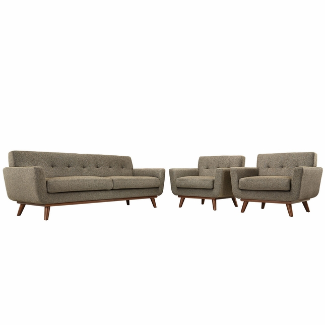 Mid-Century Modern Engage 2pc Button-Tufted Sofa Armchair Set, Oatmeal
