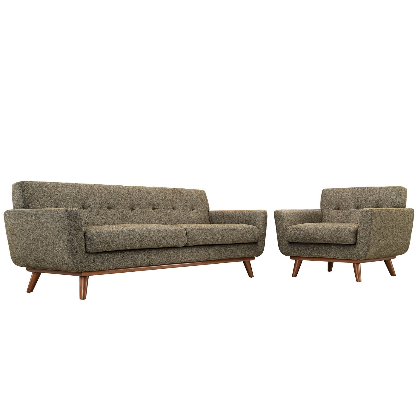 Engage Modern 2pc Upholstered Button Tufted Sofa Armchair Set Oatmeal