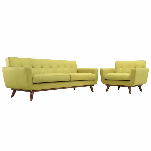 Mid-Century Modern Engage 2pc Button-Tufted Sofa & Armchair Set, Wheatgrass