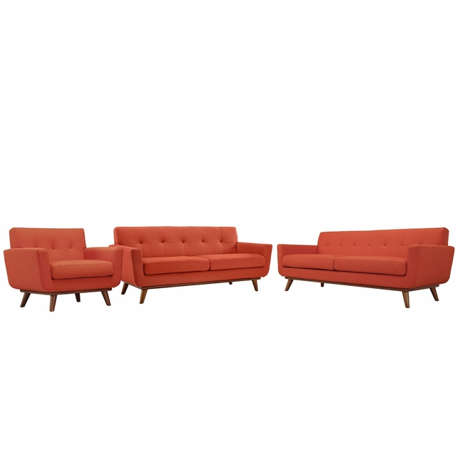 Mid-Century Modern Engage 3pc Button-Tufted Sofa Loveseat & Armchair, Atomic Red