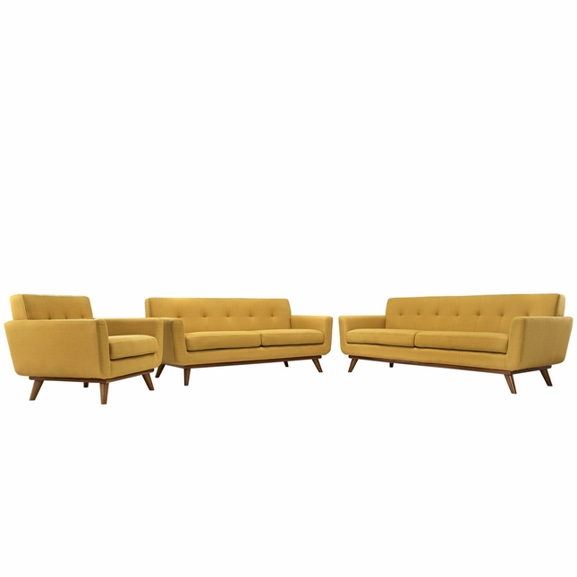 Mid-Century Modern Engage 3pc Button-Tufted Sofa Loveseat & Armchair, Citrus