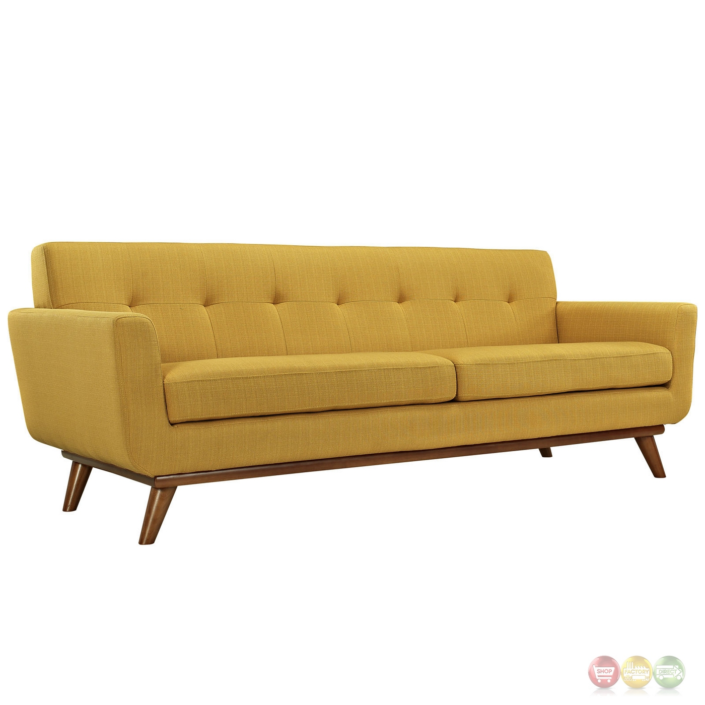 Mid Century Modern Engage 3pc Button Tufted Sofa Loveseat Armchair Citrus