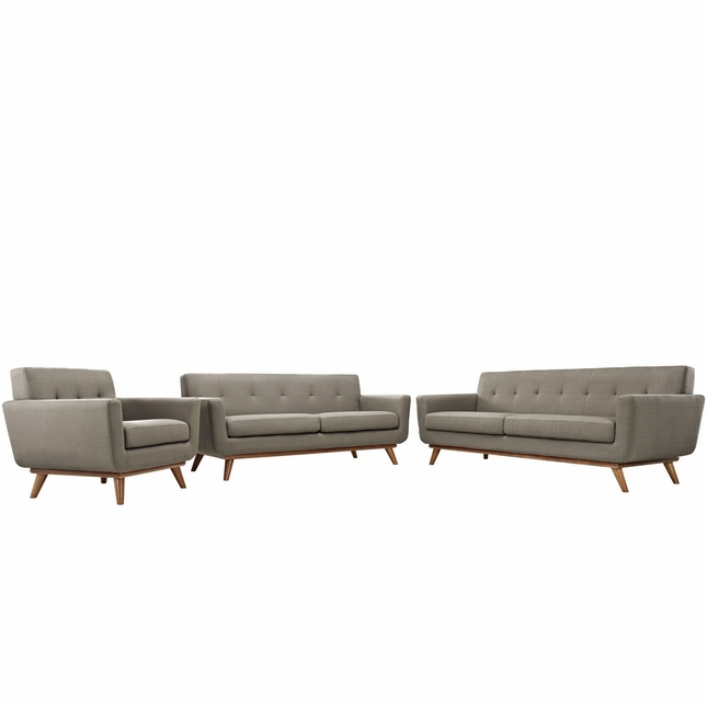Mid-Century Modern Engage 3pc Button-Tufted Sofa Loveseat & Armchair, Granite