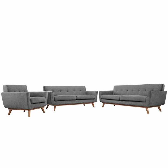 Mid-Century Modern Engage 3pc Button-Tufted Sofa Loveseat & Armchair, Gray