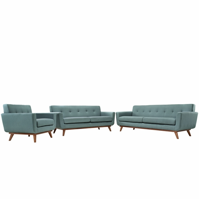 Mid-Century Modern Engage 3pc Button-Tufted Sofa Loveseat & Armchair, Laguna