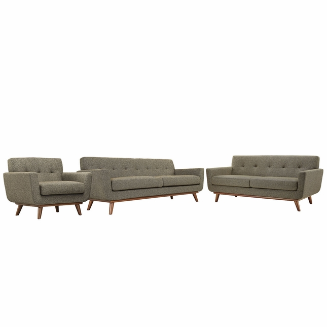 Mid-Century Modern Engage 3pc Button-Tufted Sofa Loveseat & Armchair, Oatmeal