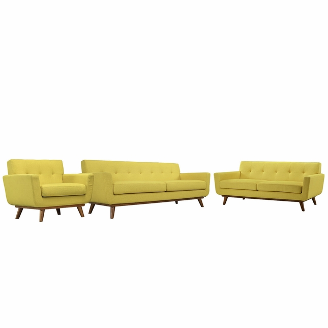 Mid-Century Modern Engage 3pc Button-Tufted Sofa Loveseat & Armchair, Sunny