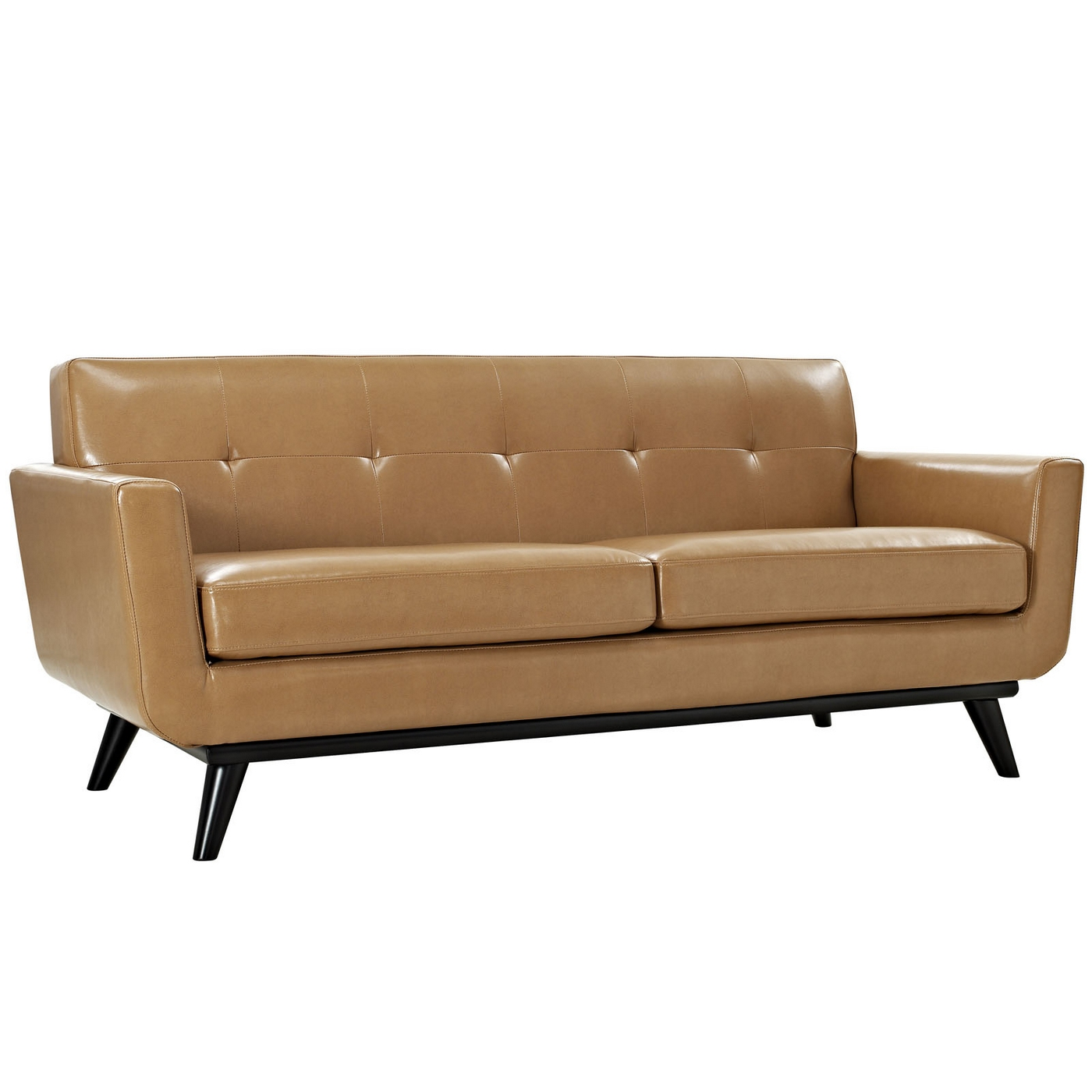 Engage Modern Bonded Leather Loveseat With Button Tufted Accents Tan