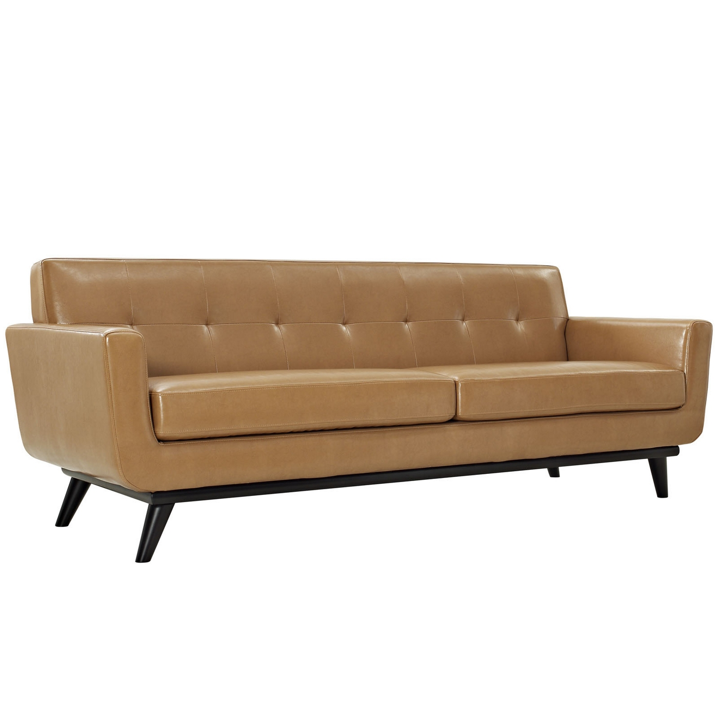 Engage Modern Bonded Leather Sofa With Button Tufted Accents Tan