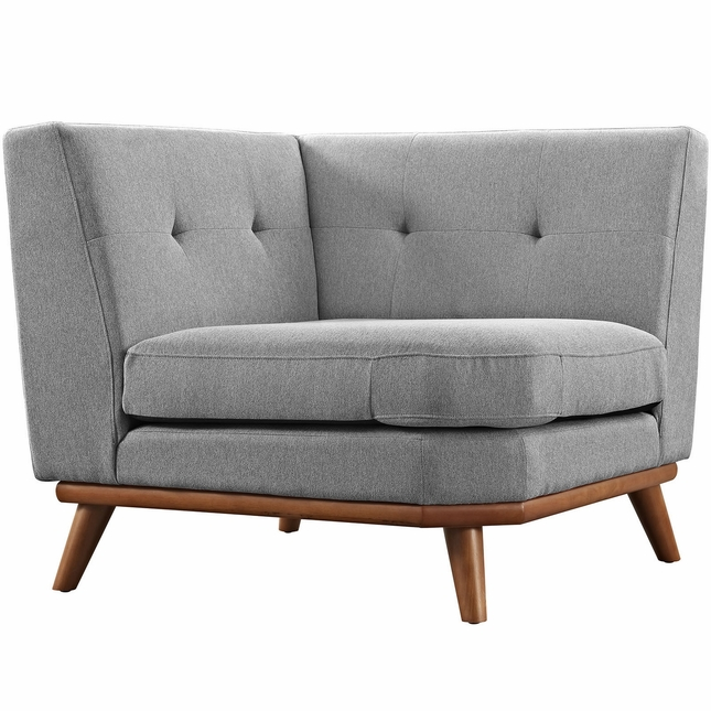 Mid-Century Modern Engage Button-Tufted Corner Sofa, Expectation Gray