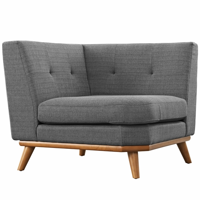 Mid-Century Modern Engage Button-Tufted Upholstered Corner Sofa, Gray