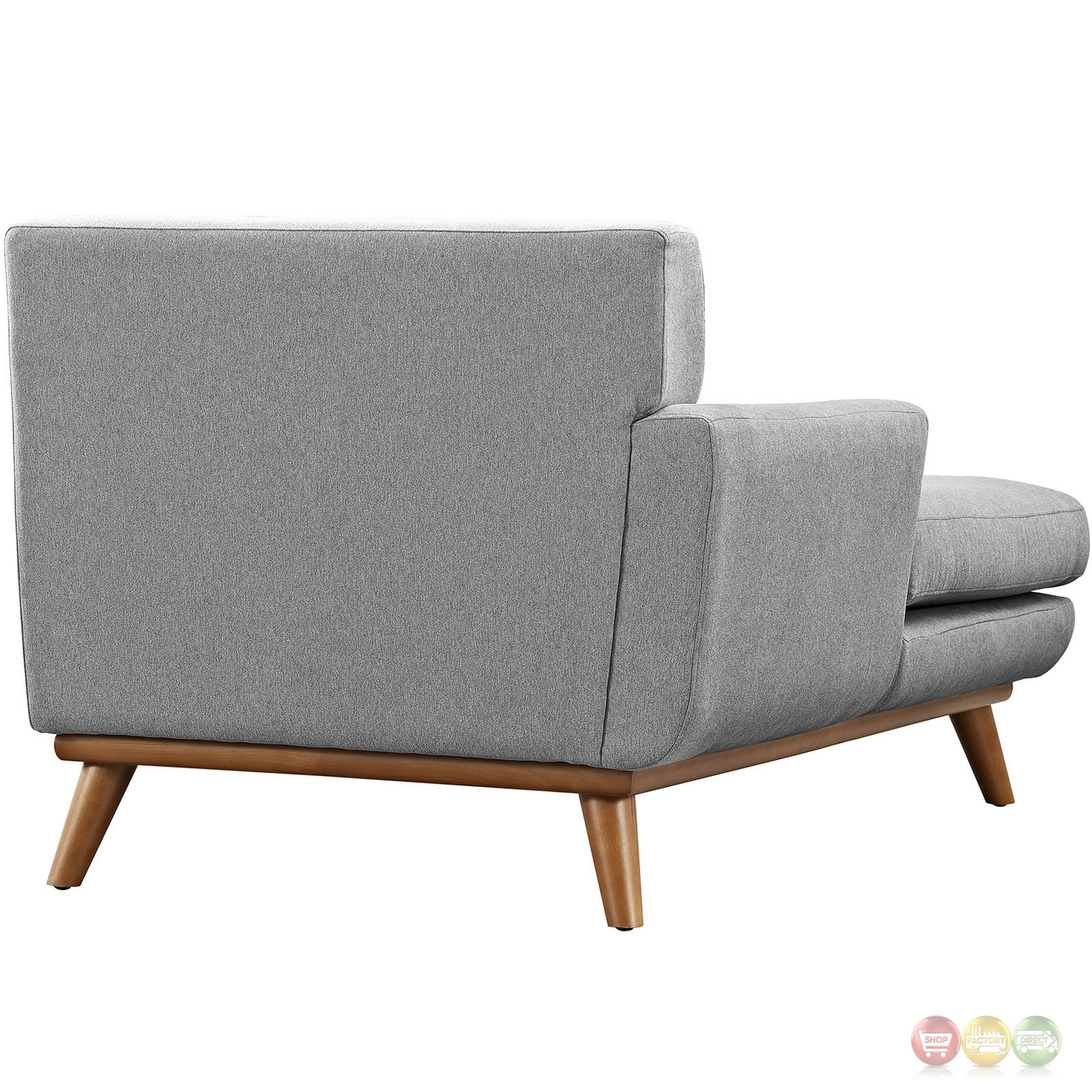 Mid century modern engage button tufted left arm chaise for Button tufted chaise