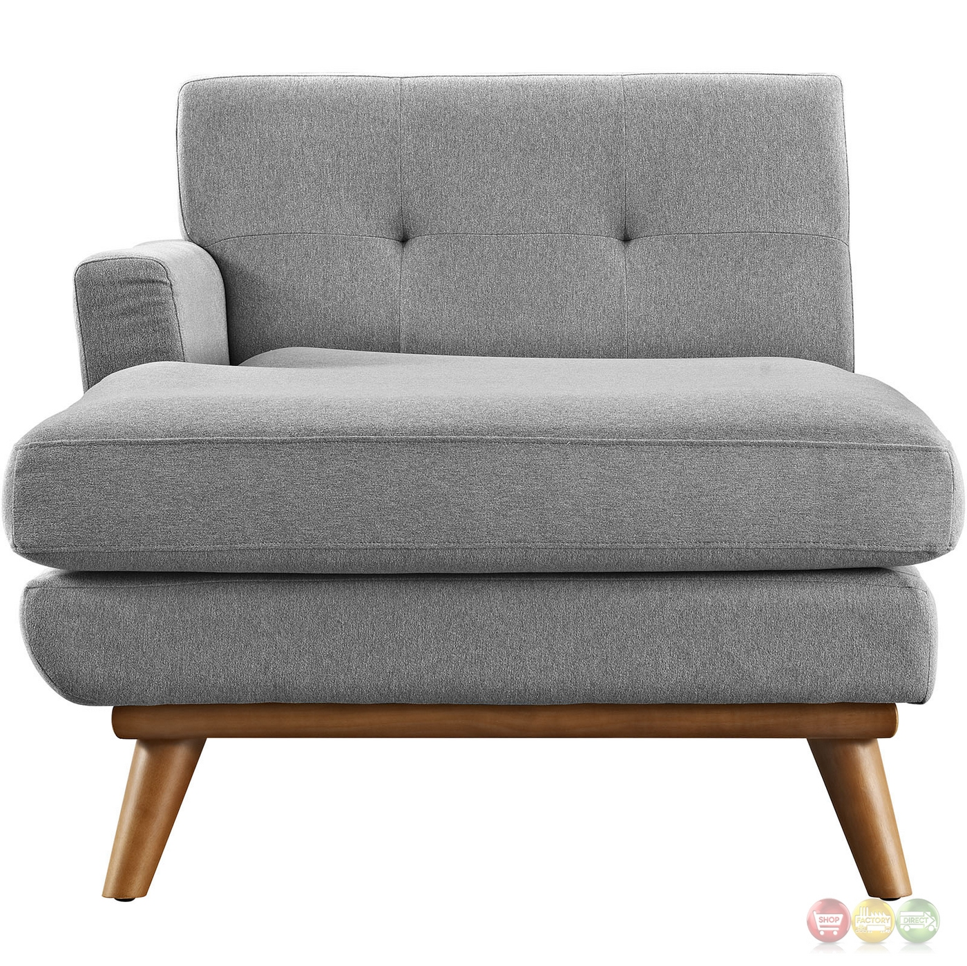 Engage modern button tufted upholstered left arm chaise for Button tufted chaise