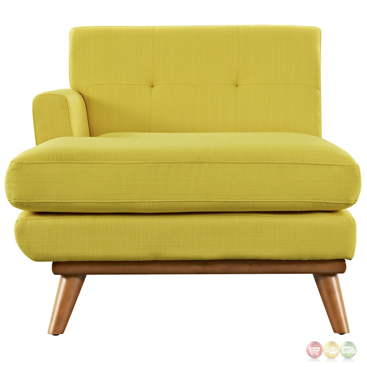 Engage modern button tufted upholstered left arm chaise sunny for Button tufted chaise settee green