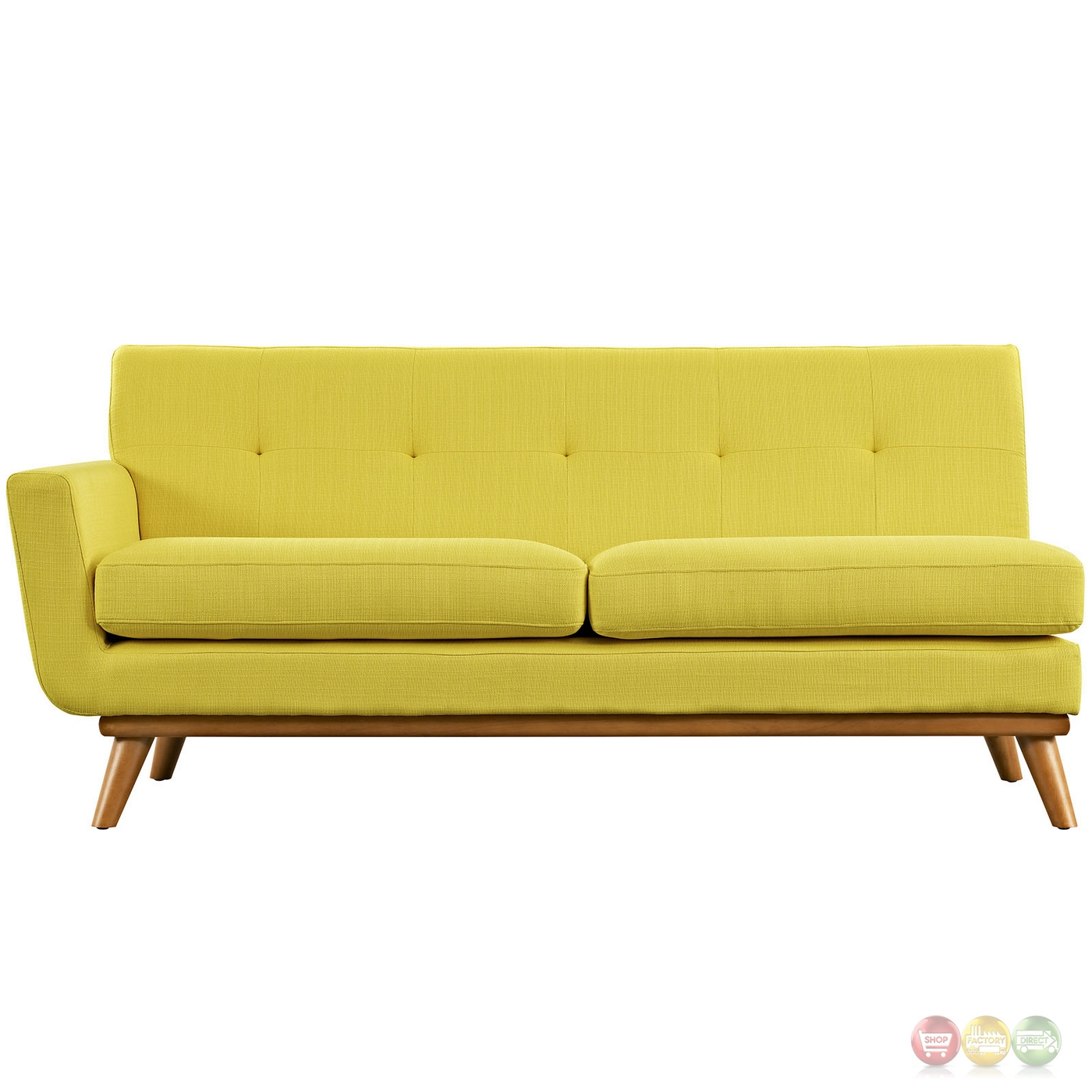 Engage Modern Button Tufted Upholstered Left Arm Loveseat Sunny