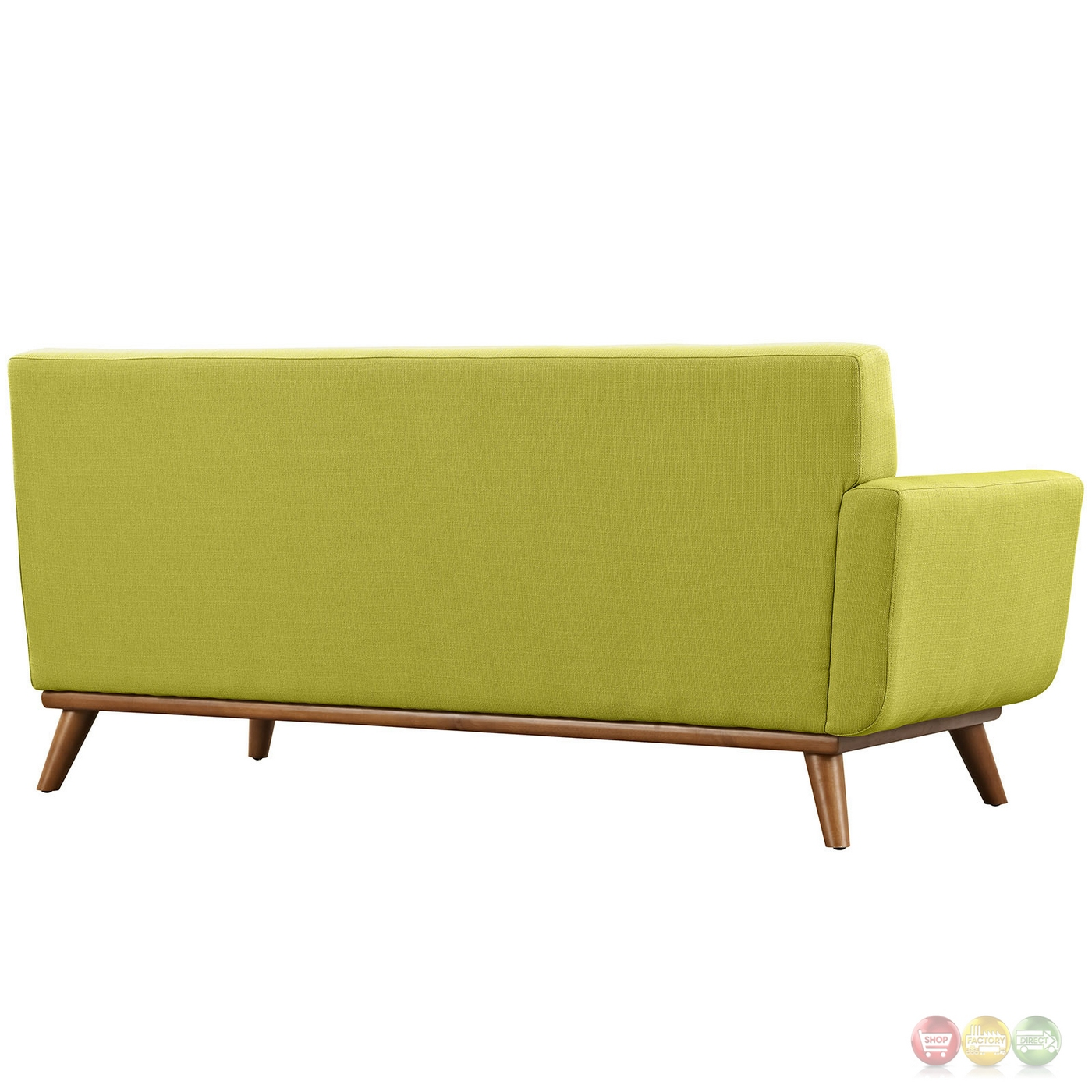 Engage Modern Button Tufted Upholstered Left Arm Loveseat Wheatgrass