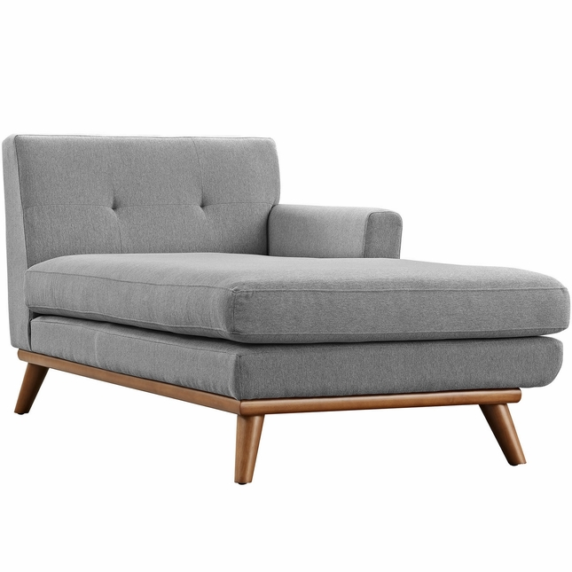 Mid-Century Modern Engage Button-Tufted Right-Arm Chaise, Expectation Gray