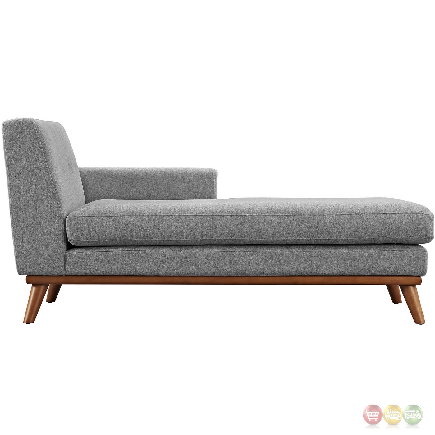 Engage modern button tufted upholstered right arm chaise for Button tufted chaise