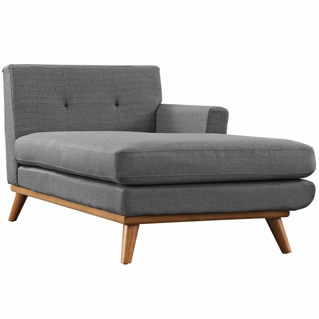 Mid-Century Modern Engage Button-Tufted Right-Arm Chaise, Gray