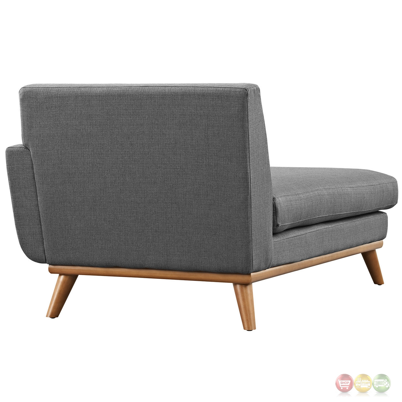 Engage modern button tufted upholstered right arm chaise gray for Button tufted chaise
