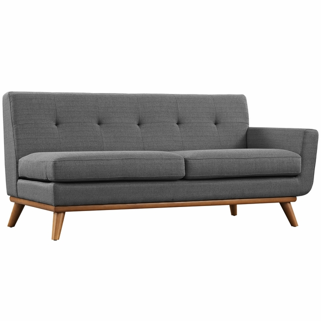 Mid-Century Modern Engage Button-Tufted Right-Arm Loveseat, Gray