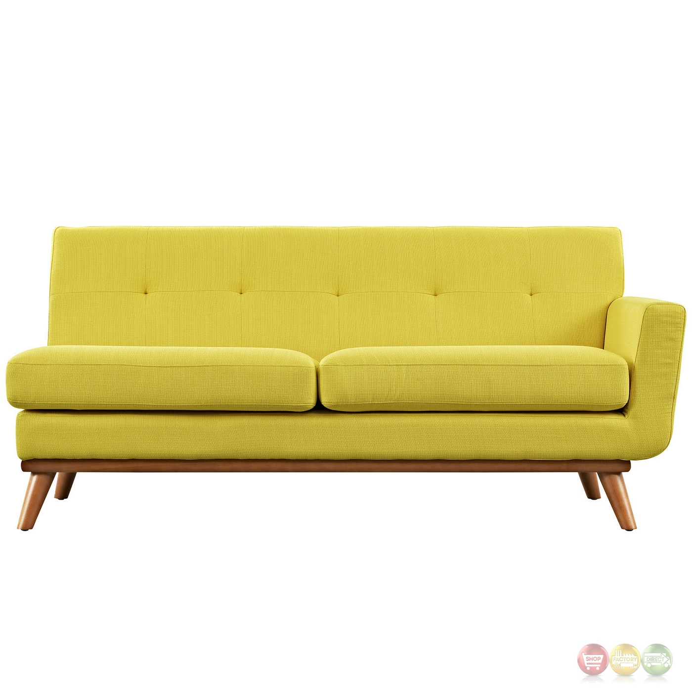 Engage Modern Button Tufted Upholstered Right Arm Loveseat Sunny