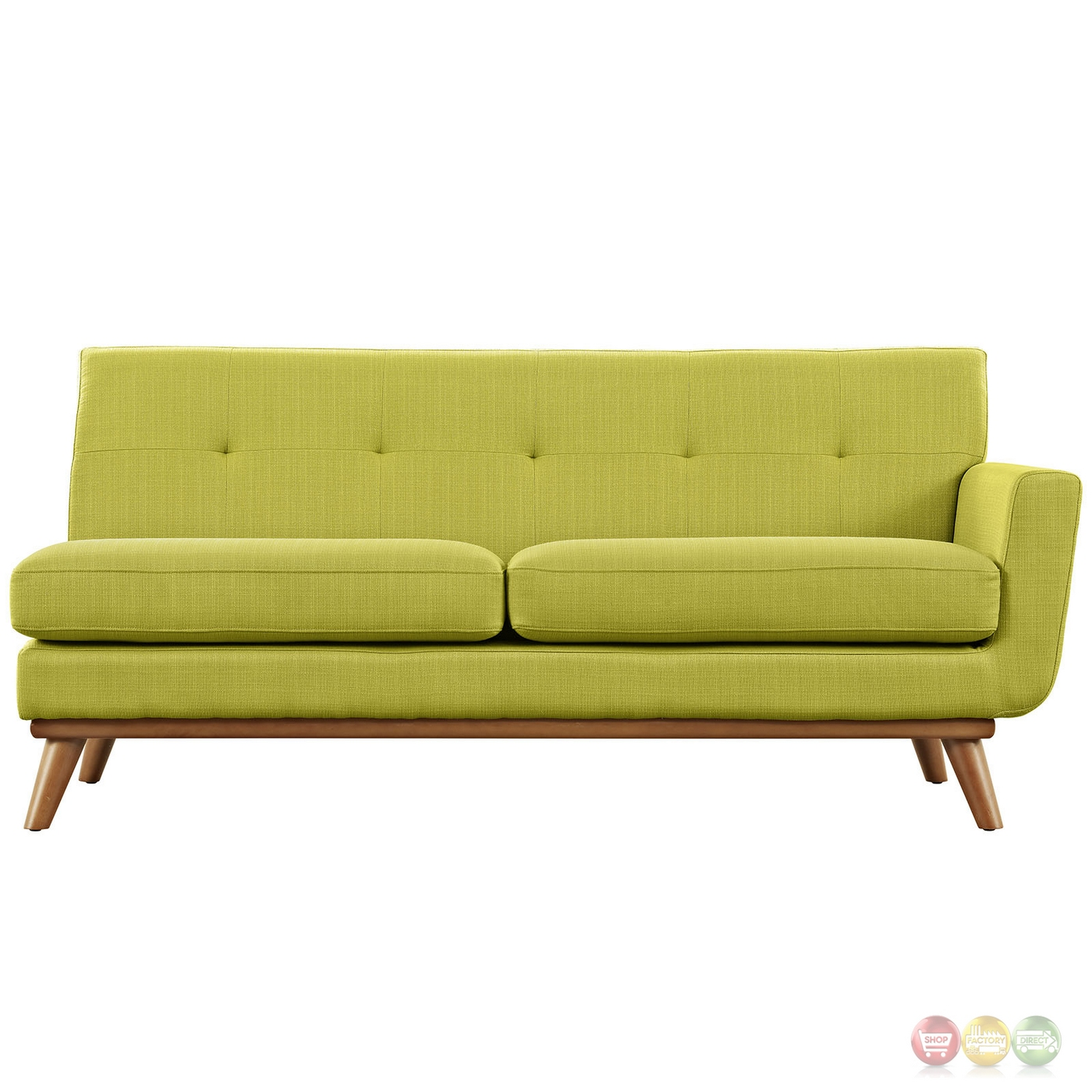 Engage Modern Button Tufted Upholstered Right Arm Loveseat Wheatgrass