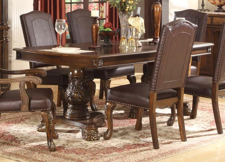 English Manor Double Pedestal Formal Dining Room Table