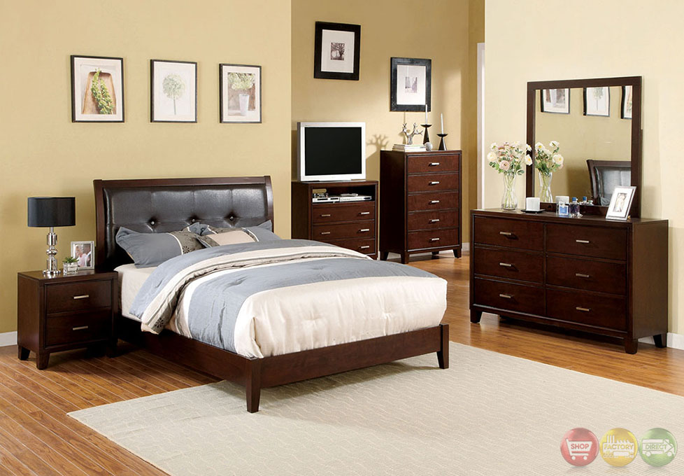 Enrico I Contemporary Brown Cherry Platform Bedroom Set With Padded Leatherette Headboard Cm7068