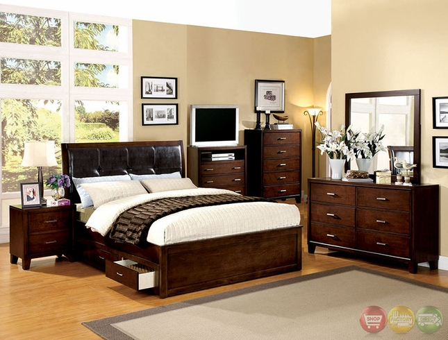 Enrico Iv Contemporary Brown Cherry Platform Storage Bedroom Set With Padded Leatherette