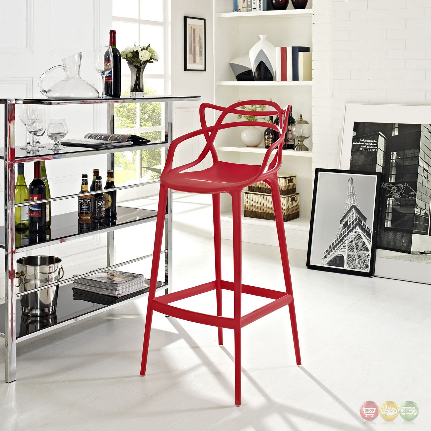 Entangled Stylish Modern Molded Plastic Bar Stool Red