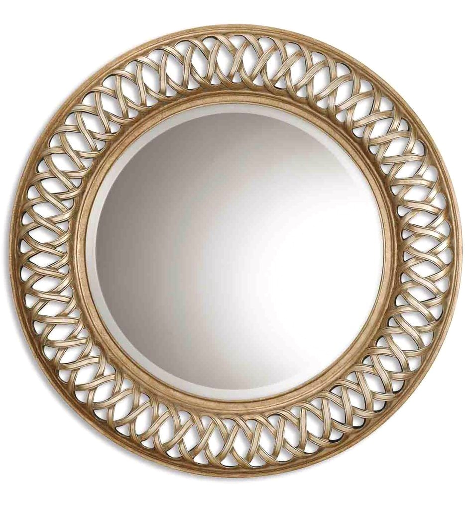 New Entwined Antique Round Mirror W Silver Gold Leaf Decorative
