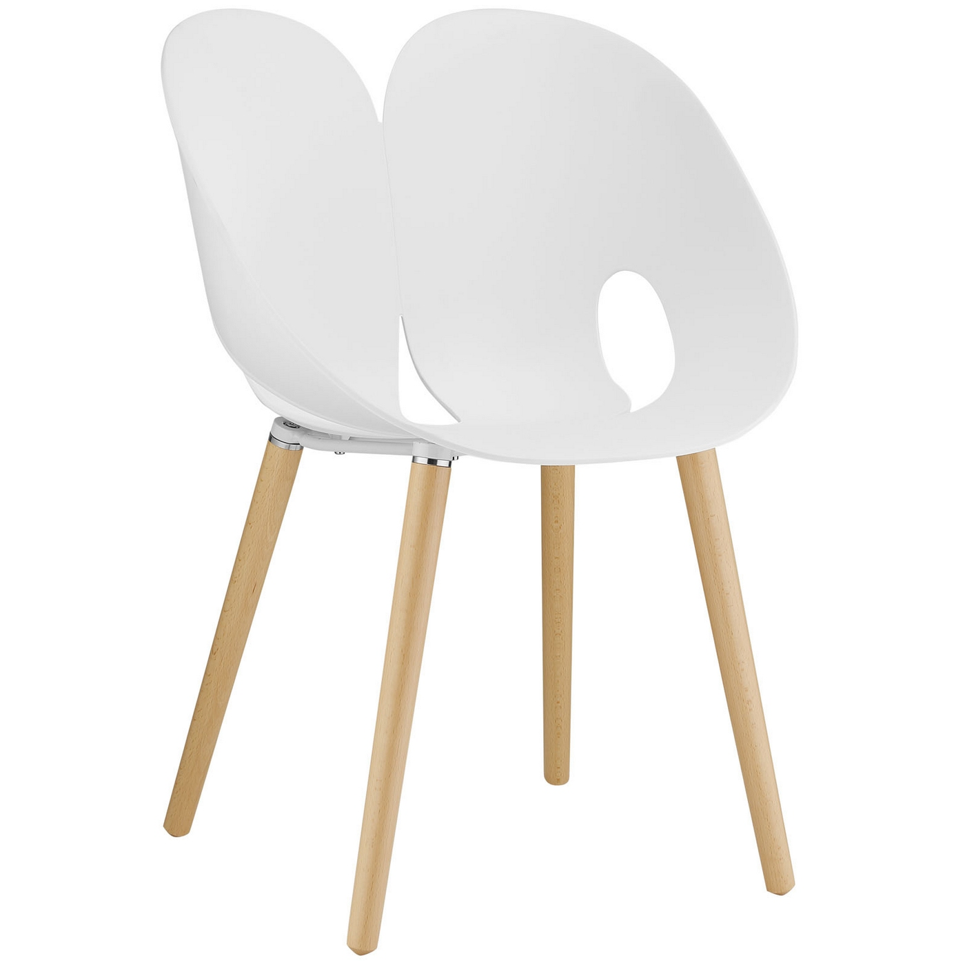 Envelope Plastic Winged Back Dining Side Chair With Wood Legs White