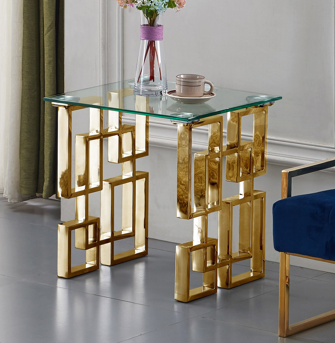 3pc Black Temper Glass Tops Metal Legs Coffee Table W: Enzo Modern Glass Top Occasional Table Set W/Gold