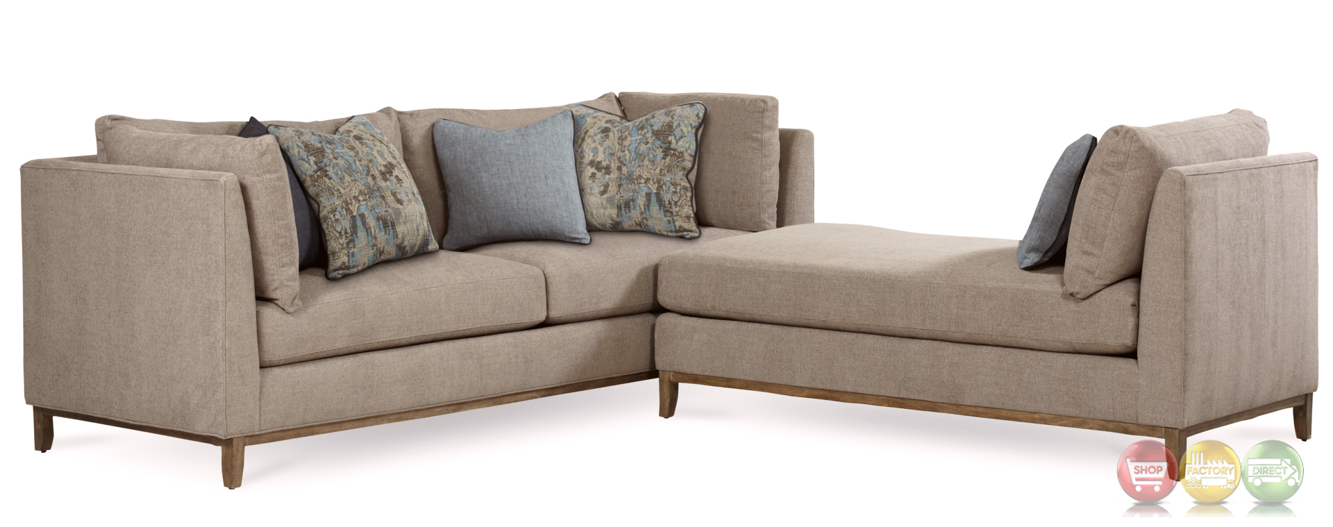 Epicenters chaplin natural beige chaise with rustic pine for Beige sectional with chaise