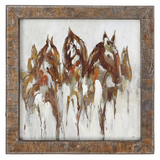 "Equestrian In Browns & Golds Abstract Wall Art In Real Birch Bark Frame, 36""x36"""
