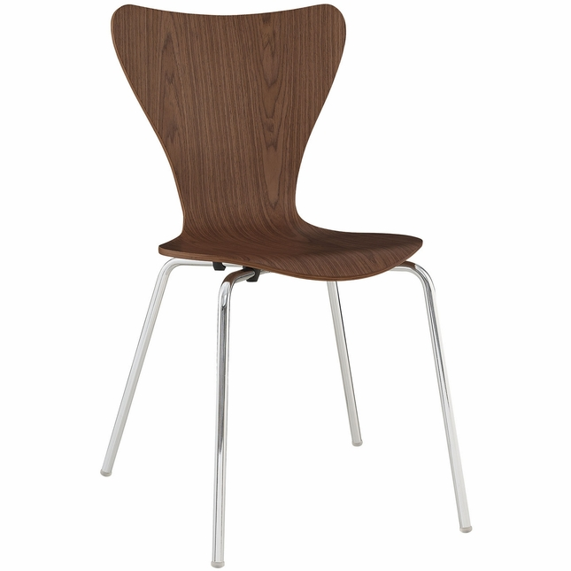 Ernie modern wood grain panel dining side chair w chrome for Walnut dining chairs modern