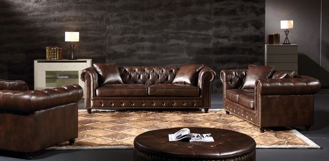 Eskridge Traditional Brown Chesterfield Sofa U0026 Loveseat Set In Leather Air