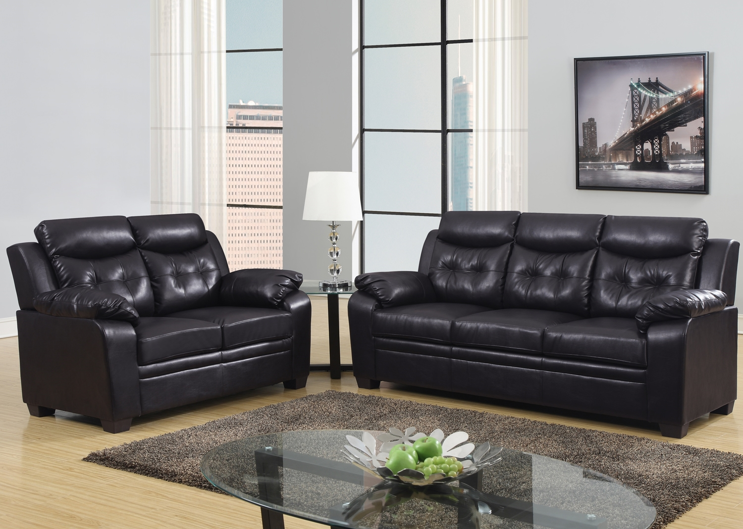 Espresso apartment size casual contemporary bonded leather for Apartment size leather sofa