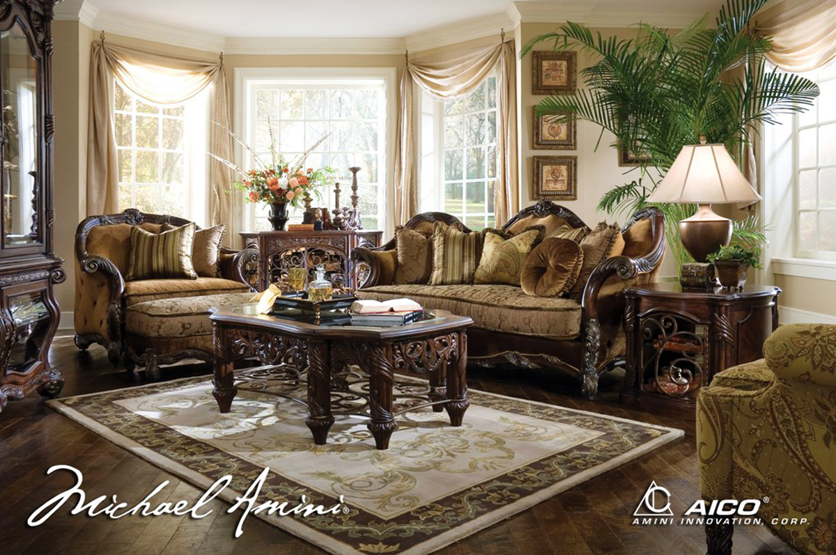 Michael amini essex manor luxury upholstered living room for Sitting room furniture