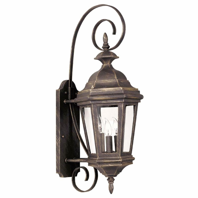 Estate 3 Light Antique Patina Clear Glass Wall Lantern