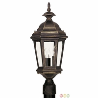Estate Antique Patina Finish Clear Glass Post Lantern