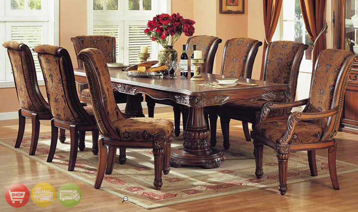 Estelle cherry brown finish formal dining room set for Cherry formal dining room sets
