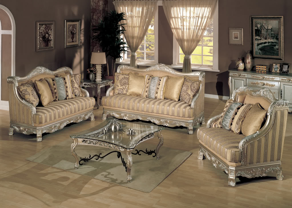 Estonia ornate formal living room group champaign platinum for Classic traditional furniture