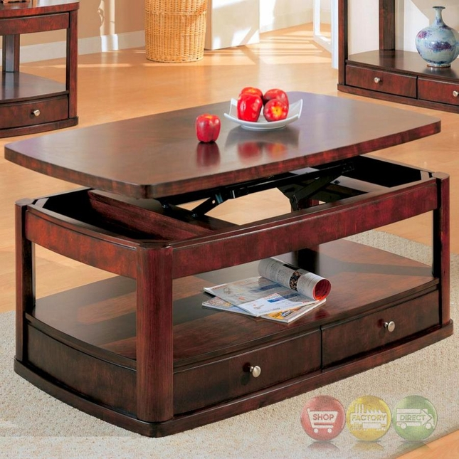 Evans Merlot Coffee Table With Lift Top And Storage Drawers