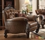 Versailles Light Brown Traditional Carved Wood Formal Sofa and Loveseat Set