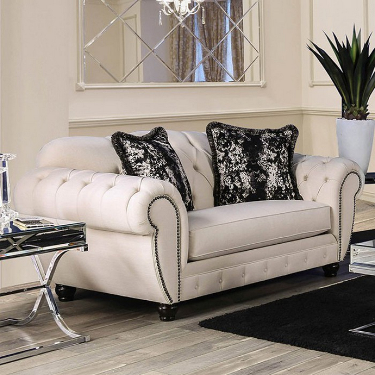 Evelyn Transitional Button Tufted Beige Fabric