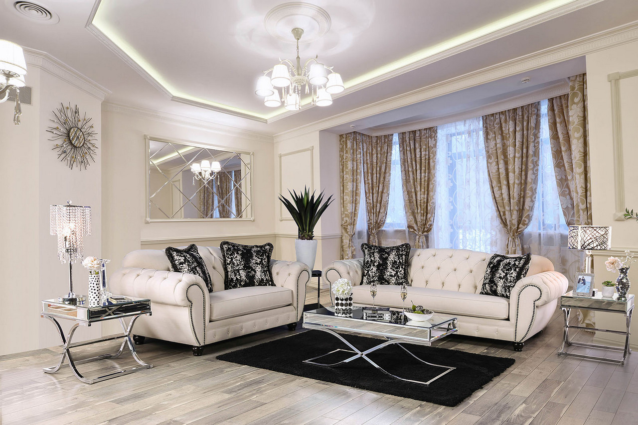 Evelyn Button Tufted Beige Fabric Chesterfield Sofa Set