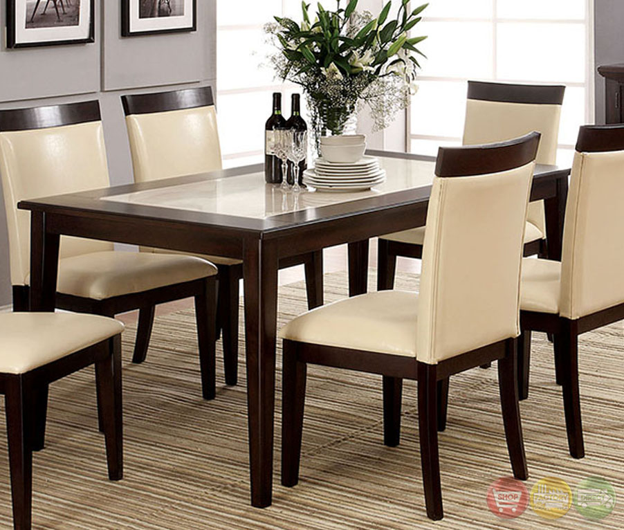 Evious i contemporary espresso casual dining set with faux for Casual dining table set