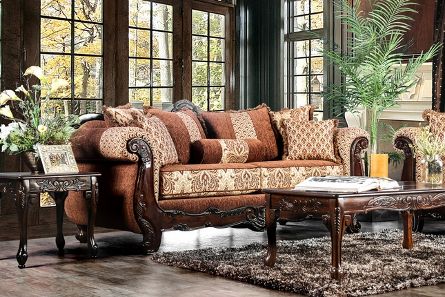 Exceptional Evora Formal Fabric Sofa In Pecan Brown W/ Damask Print U0026 Dark Wood Finish